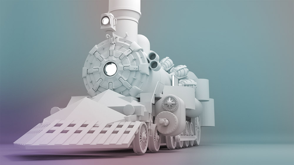 3D Steampunk style train basic blocking no texture or materials