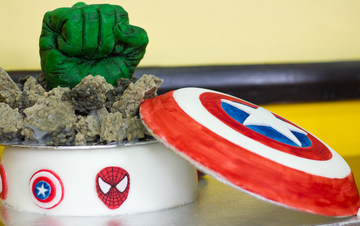 Hulk Fist Cake with Edible Rice Crispy Rubble and Captain America shield