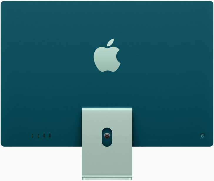 """The dark blue 24"""" M1 iMac from the back, showing off the big bold apple logo"""