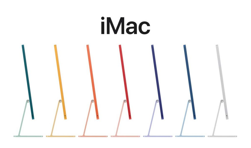 """The new 24"""" M1 iMac 2021 lineup from the side. Showing off the 7 colour options."""